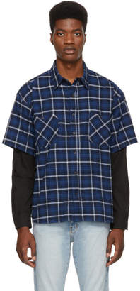 Adaptation Navy Plaid Double Shirt