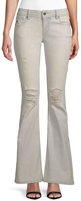 Miss Me Women's Distressed Flare Jeans - Light Blue, Size 29 (6-8)