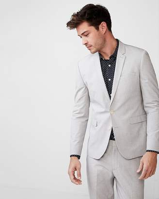 Express Extra Slim Gray Pindot Stretch Cotton Suit Jacket