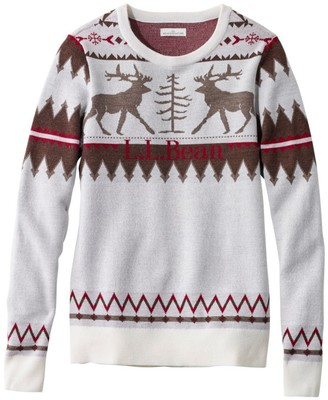 L.L. Bean L.L.Bean Signature Merino Textured Crewneck Sweater, Fair Isle
