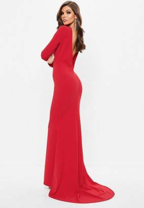 Missguided Red Long Sleeve Open Back Fishtail Maxi Dress
