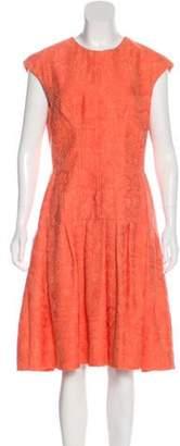 Lela Rose Jacquard Midi Dress Coral Jacquard Midi Dress
