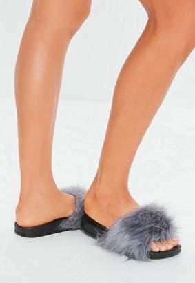 918781f1cff0 Missguided Grey Faux Fur Fluffy Sliders