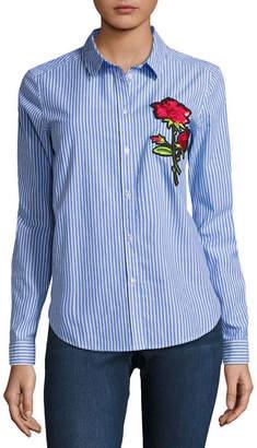 i jeans by Buffalo Pinstripe Patch Shirt