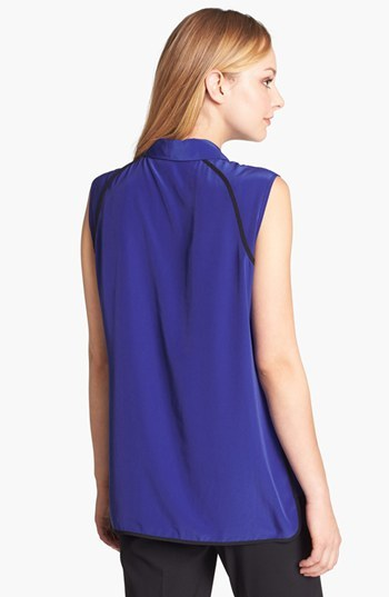 Vince Camuto Contrast Trim Sleeveless Blouse