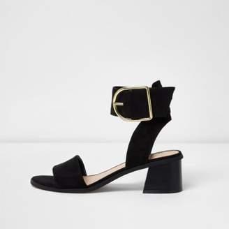 River Island Womens Black oversized buckle sandals