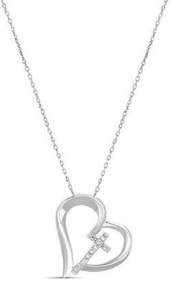 Lumineux Diamond Accent Open Heart Cross Pendant in Sterling Silver