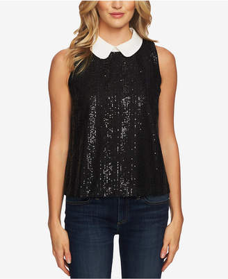 CeCe Sequined Peter-Pan-Collar Sleeveless Top