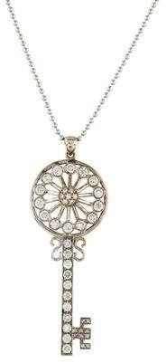 18K Diamond Key Pendant Necklace