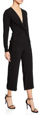 Self-Portrait V-Neck Long-Sleeve Twist-Front Cropped Jumpsuit