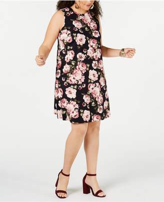 BCX Plus Size Trendy Plus Size Sleeveless Floral Knit Dress