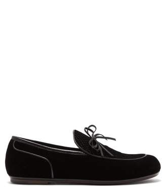 Bottega Veneta Trinity Velvet Loafers - Mens - Black