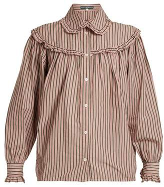 ALEXACHUNG Striped Frill Trimmed Cotton Shirt - Womens - Pink Stripe