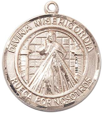 "Misericordia F A Dumont 14kt Gold Divina Medal. Includes deluxe flip-top gift box. Medal/Pendant measures 3/4"" x 5/8"""