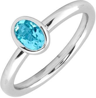 Simply Stacks Sterling & Oval Blue Topaz Ring
