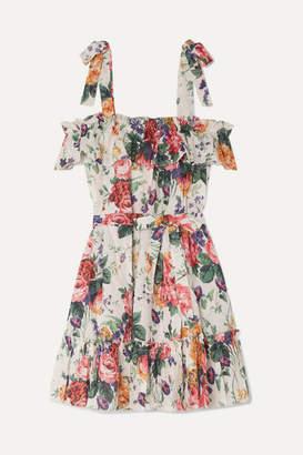 Zimmermann Allia Ruffled Floral-print Linen Dress - White