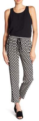 Bobeau B Collection by Woven Print Pull-On Trousers