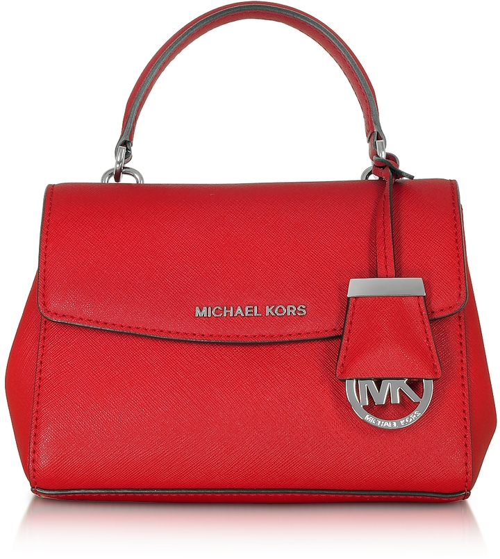MICHAEL Michael Kors Michael Kors Ava Bright Red Saffiano Leather XS Crossbody Bag