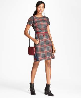 Brooks Brothers Tartan Wool Twill Shift Dress