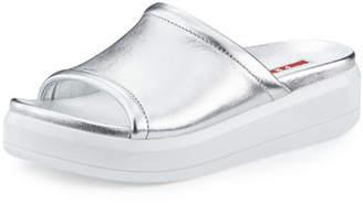Prada Linea Rossa Leather 35mm Platform Sport Slide Sandal