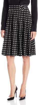 Star Vixen Women's Midi-Length Full Sweep Ity Skirt with O-Ring Adjuststable Waist Detail