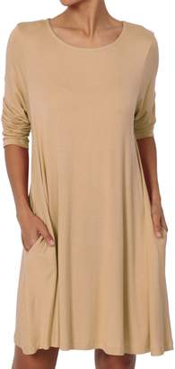 TheMogan Women's Short Sleeve Trapeze Knit Pocket T-Shirt Dress 2XL