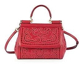 Dolce & Gabbana Women's Small Sicily Cutout Leather Top Handle Bag