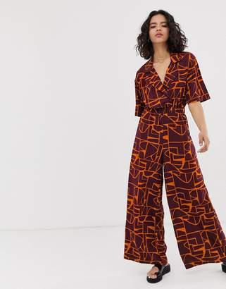 NATIVE YOUTH relaxed jumpsuit in abstract print