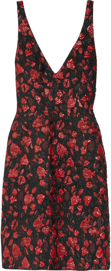 Thakoon Hearts and Lips textured-brocade dress