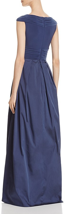 Adrianna Papell Pleated Cross Bodice Taffeta Gown 2