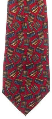 Salvatore Ferragamo Drum Print Silk Tie