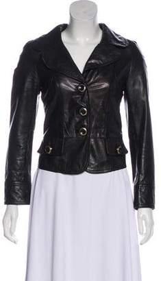 Dolce & Gabbana Leather Notch-Lapel Jacket