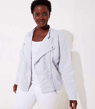 LOFT Plus Linen Cotton Moto Jacket