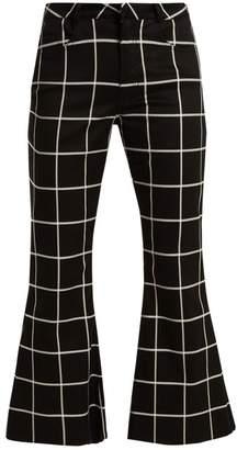 Marques Almeida Marques'almeida - Checked Slim Leg Cotton Blend Trousers - Womens - Black White