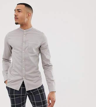 Asos Design DESIGN Tall stretch slim denim shirt in gray with grandad collar