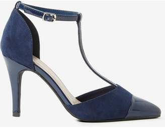 Dorothy Perkins Womens Wide Fit Navy Microfibre 'Game' Court Shoes