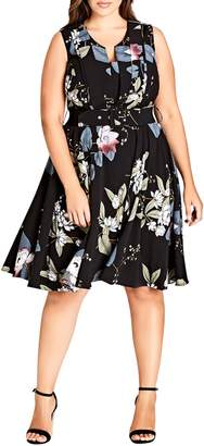 City Chic Blossom Fit & Flare Dress