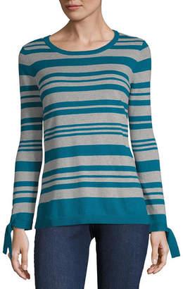 Liz Claiborne 3/4 Sleeve Round Neck Stripe Pullover Sweater