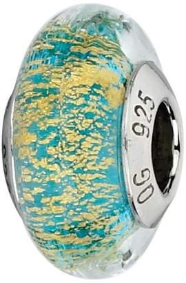 Murano Prerogatives Turquoise/Gold Italian Glass Bead