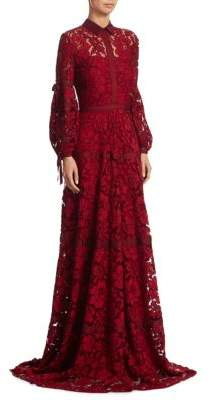 Lela Rose Seamed Floral Lace Gown