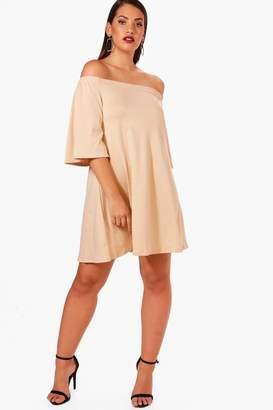 boohoo Plus Off The Shoulder Swing Dress