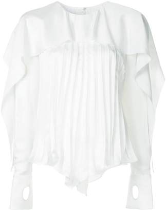 Self-Portrait pleated ruffle trim blouse