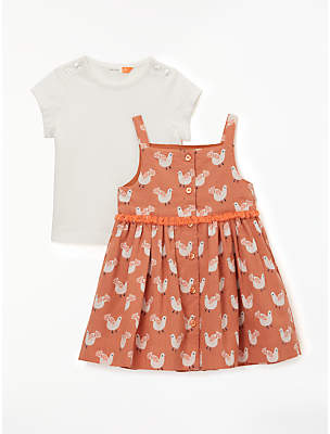 John Lewis & Partners Baby Bird Print Dress and Top Set, Multi