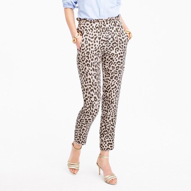 Ruffle-waist linen pant in leopard print