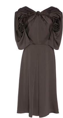 Zac Posen Solid Satin Back Crepe Midi Dress