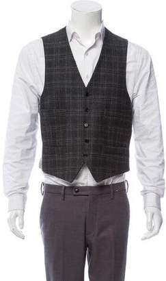 John Varvatos Plaid Wool Suit Vest
