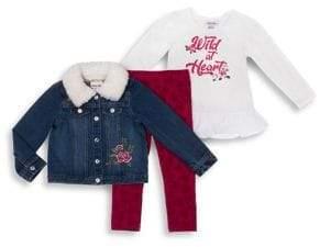 Little Lass Baby Girl's Three-Piece Wild Heart Denim Jacket, Peplum Top & Leggings Set