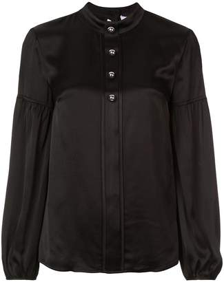 Derek Lam 10 Crosby Long Sleeve Band Collar Blouse with Buttons