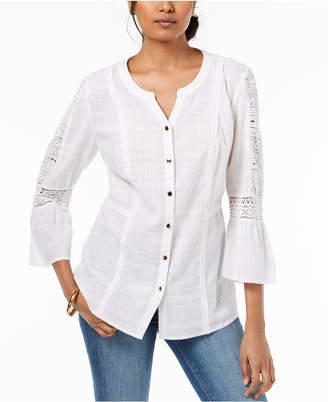JM Collection Cotton Crochet-Trim Shirt, Created for Macy's