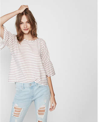 Express pink stripe tie back top